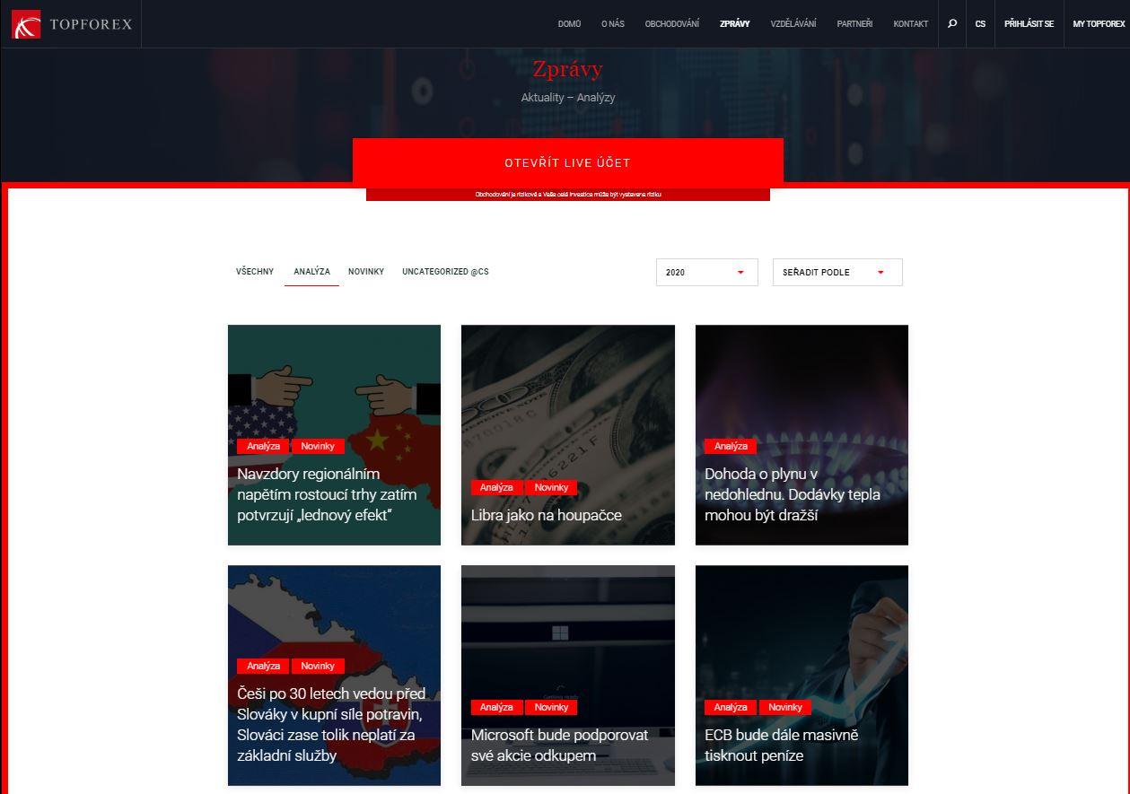 Sekce Zprávy na webových stránkách TopForex