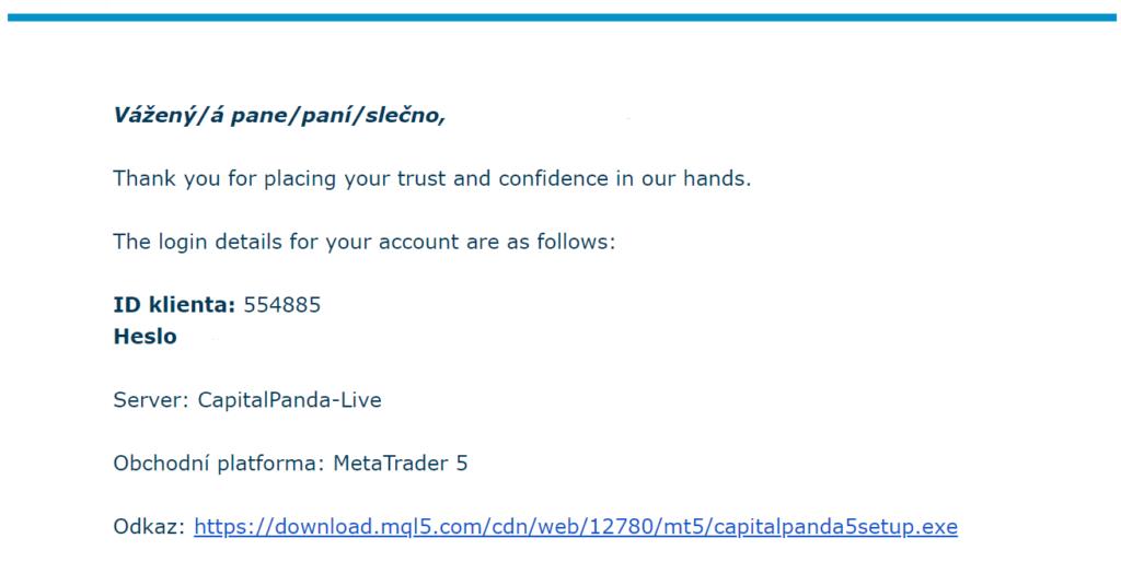 Na zadanou emailovou adresu budou zaslány přihlašovací údaje