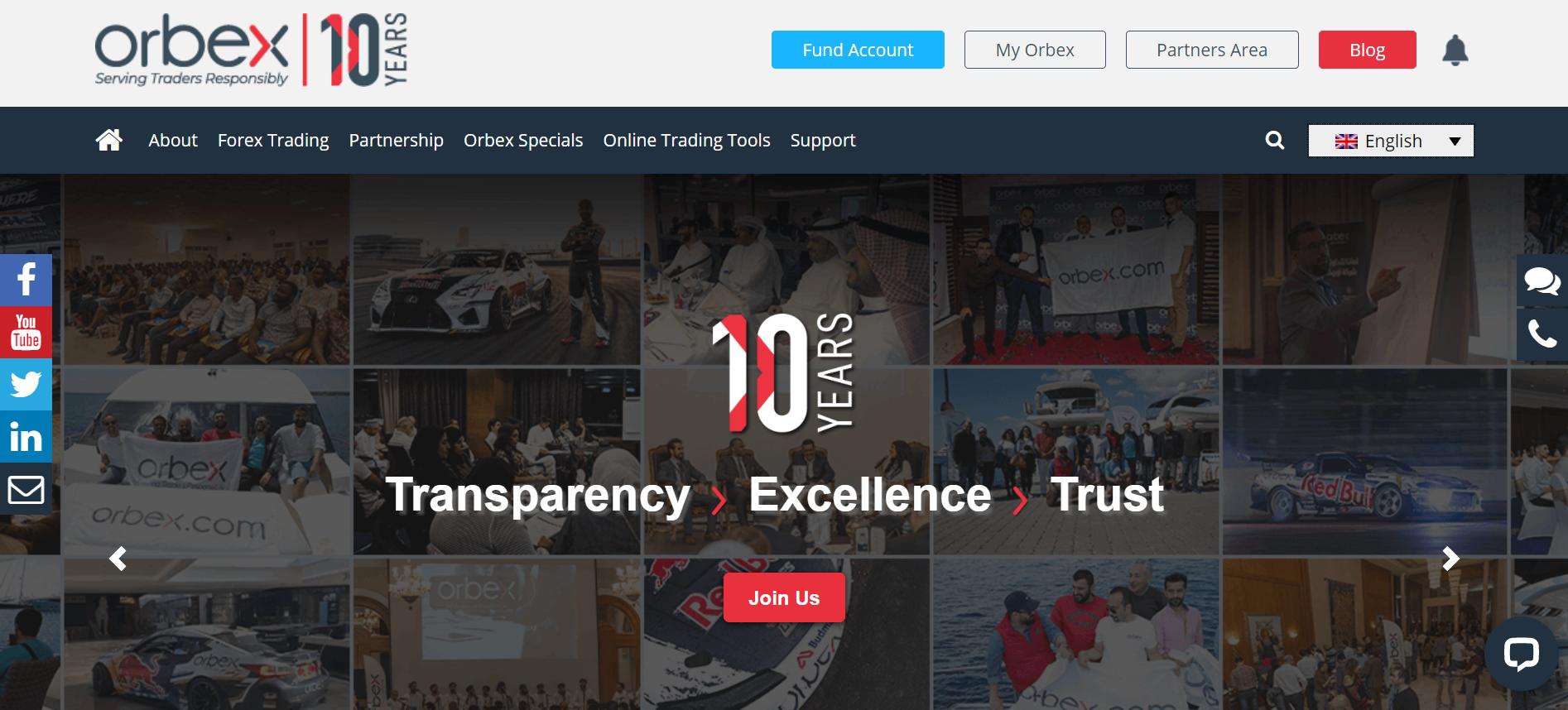 Web společnosti Orbex