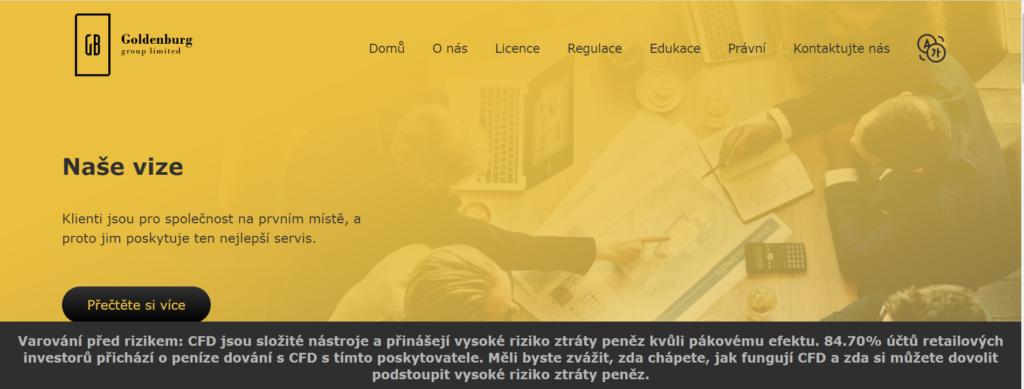 Webová stránka společnosti GoldenBurg Group
